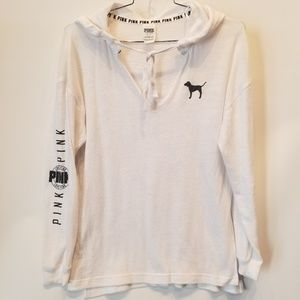 PINK by Victoria Secret White Hooded Pullover